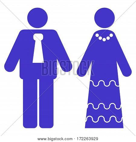 Newlyweds flat icon. Vector violet symbol. Pictograph is isolated on a white background. Trendy flat style illustration for web site design logo ads apps user interface.