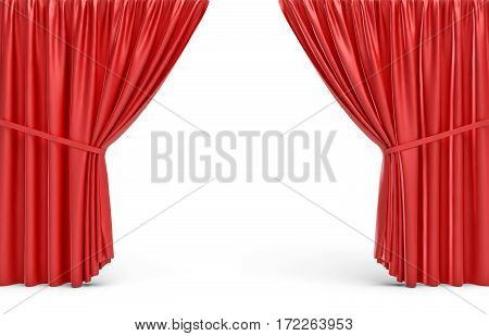 3d rendering of red opened stage curtains on white background. Ads and promotion. Theater shows. Celebrations.