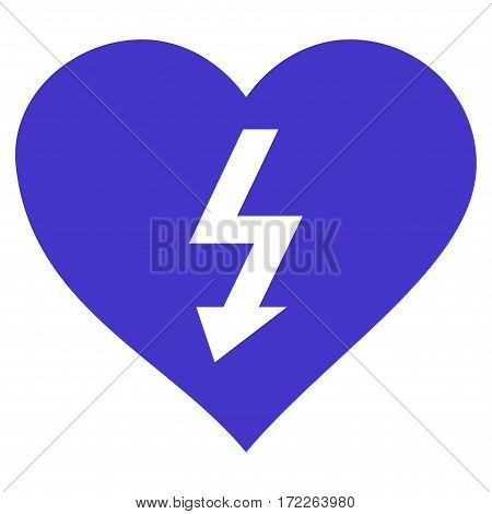 Power Love Heart flat icon. Vector violet symbol. Pictograph is isolated on a white background. Trendy flat style illustration for web site design logo ads apps user interface.
