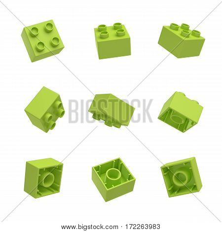 3d rendering of many green toy blocks hanging in the air and shown from all sides. Toy tower blocks. Lego sets. Building kits.