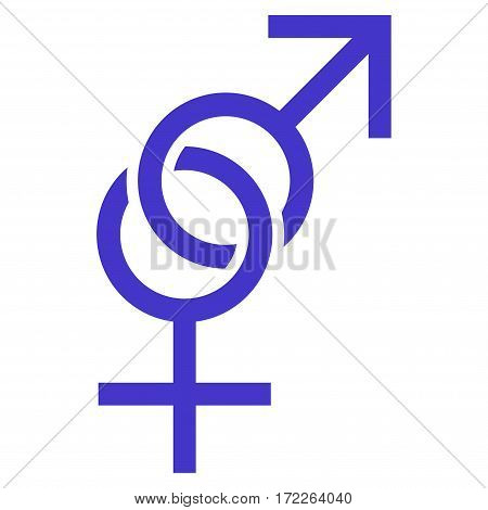 Sex Symbol flat icon. Vector violet symbol. Pictograph is isolated on a white background. Trendy flat style illustration for web site design logo ads apps user interface.