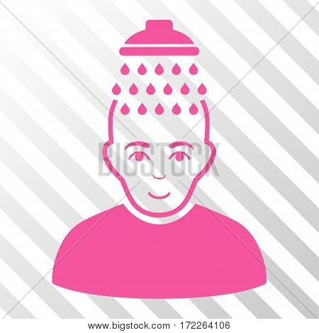 Pink Head Shower toolbar icon. Vector pictograph style is a flat symbol on diagonal hatch transparent background.