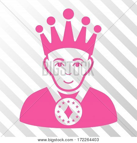 Pink King interface pictogram. Vector pictograph style is a flat symbol on diagonal hatch transparent background.