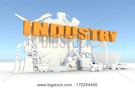 Energy and Power icons set. Sustainable energy generation and heavy industry. 3D rendering. Industry text