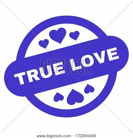 True Love Stamp Seal flat icon. Vector violet symbol. Pictograph is isolated on a white background. Trendy flat style illustration for web site design logo ads apps user interface.
