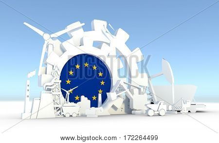 Energy and Power icons set with Europe flag. Sustainable energy generation and heavy industry. 3D rendering.