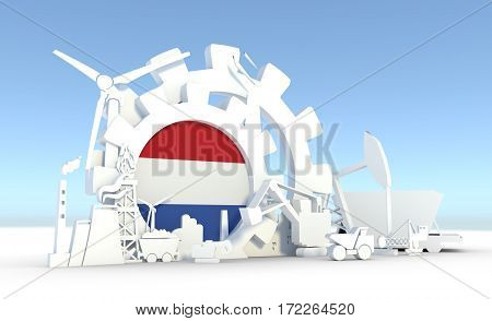 Energy and Power icons set with Netherlands flag. Sustainable energy generation and heavy industry. 3D rendering.