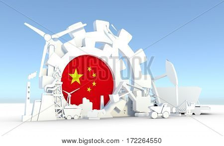 Energy and Power icons set with China flag. Sustainable energy generation and heavy industry. 3D rendering.