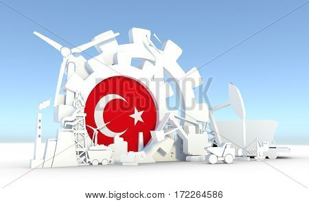 Energy and Power icons set with Turkey flag. Sustainable energy generation and heavy industry. 3D rendering.