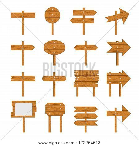 Wooden signboards, wood arrow sign Wooden icon set isolated on white background