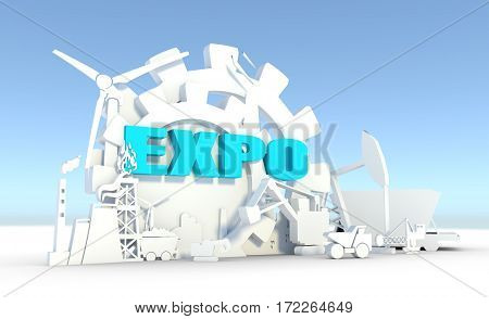 Energy and Power icons set. Sustainable energy generation and heavy industry. 3D rendering. Expo text