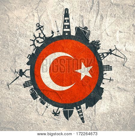 Circle with sea shipping and travel relative silhouettes. Concrete texture. Objects located around the circle. Industrial design background. Turkey flag in the center.