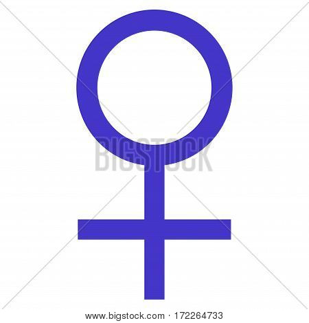 Venus Female Symbol flat icon. Vector violet symbol. Pictograph is isolated on a white background. Trendy flat style illustration for web site design logo ads apps user interface.