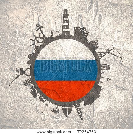 Circle with sea shipping and travel relative silhouettes. Concrete texture. Objects located around the circle. Industrial design background. Russia flag in the center.
