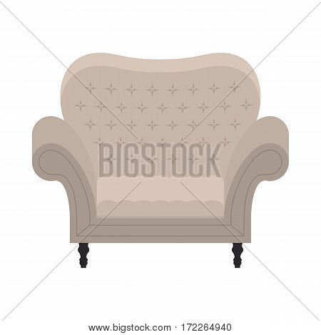 Armchair in flat style. Comfort vintage beige chair for luxury interior. Classic retro furniture - grey seat for relax. Vector illustration isolated on white background.