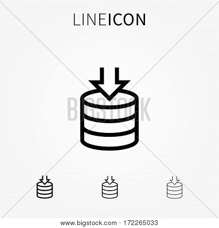 Backup server vector icon. Information and database protection creative concept. Cloud processing backup pictogram.