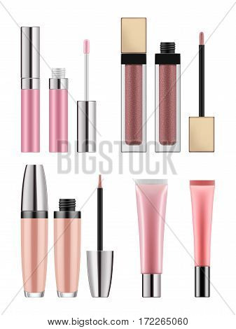 Set of realistic lip gloss. Mock-up of packages for decorative cosmetic product. Bottle with brush, tubes. Makeup for beauty face and beautiful lip. Vector illustration isolated on white