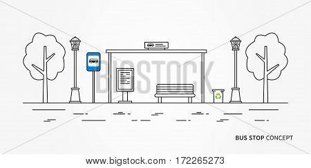 Bus stop vector illustration. Public transport station line art concept. Urban bus terminal with signpost graphic design.