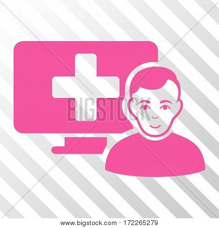 Pink Online Medicine toolbar icon. Vector pictograph style is a flat symbol on diagonally hatched transparent background.