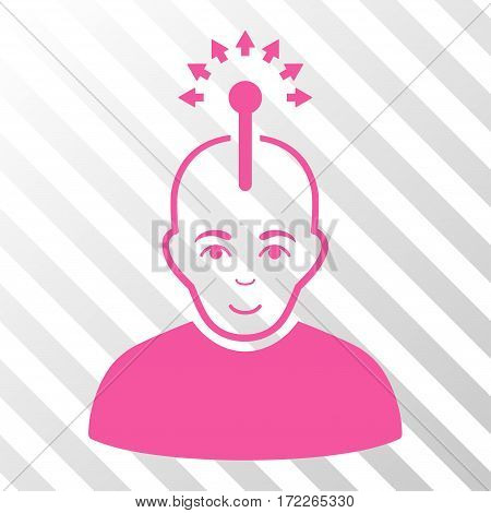Pink Optical Neural Interface interface icon. Vector pictograph style is a flat symbol on diagonally hatched transparent background.