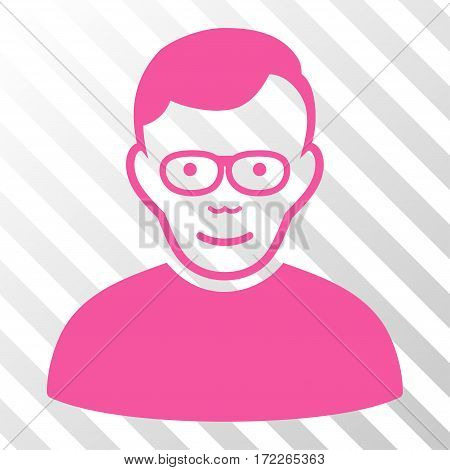 Pink Pensioner toolbar pictogram. Vector pictogram style is a flat symbol on diagonally hatched transparent background.