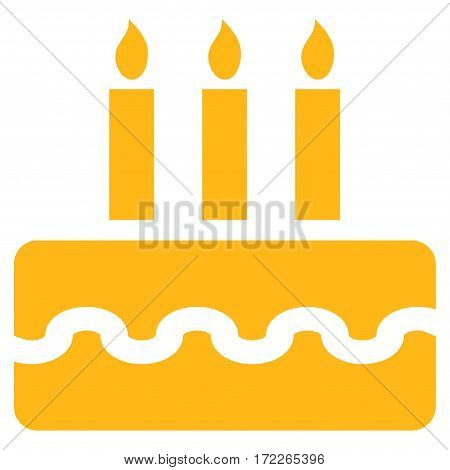 Birthday Cake flat icon. Vector yellow symbol. Pictogram is isolated on a white background. Trendy flat style illustration for web site design logo ads apps user interface.