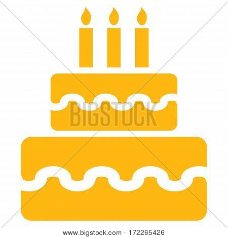 Birthday Cake flat icon. Vector yellow symbol. Pictograph is isolated on a white background. Trendy flat style illustration for web site design logo ads apps user interface.