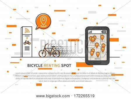 Mobile app to search for bicycles free and ready to rent creative concept. Smartphone with map and pins pointers graphic design.