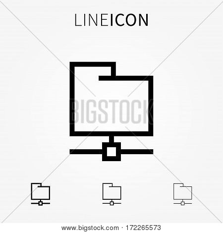 Remote folder vector icon. FTP protocol directory line art concept. Remote storage to transfer upload download data and databases graphic design. FTP folder pictogram.
