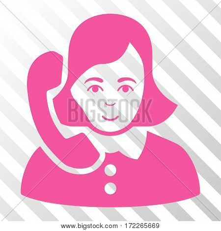 Pink Receptionist interface icon. Vector pictograph style is a flat symbol on diagonally hatched transparent background.