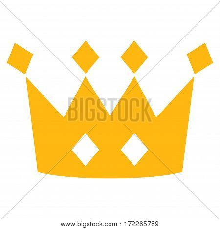 Crown flat icon. Vector yellow symbol. Pictograph is isolated on a white background. Trendy flat style illustration for web site design logo ads apps user interface.