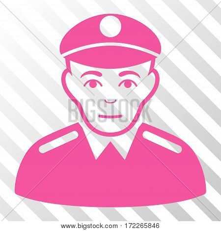 Pink Soldier interface toolbar icon. Vector pictograph style is a flat symbol on diagonally hatched transparent background.