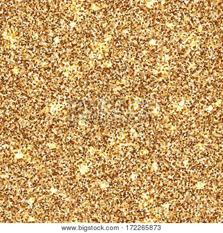 Fashion bronze seamless pattern with sparkles. Luxury and shiny metallic texture with gold glitter. Vector abstract yellow illustration of golden shimmer background