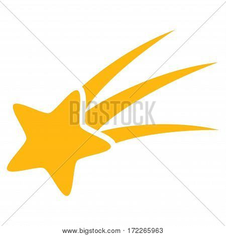 Falling Star flat icon. Vector yellow symbol. Pictograph is isolated on a white background. Trendy flat style illustration for web site design logo ads apps user interface.