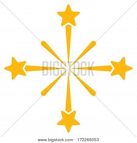 Fireworks flat icon. Vector yellow symbol. Pictogram is isolated on a white background. Trendy flat style illustration for web site design logo ads apps user interface.