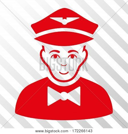 Red Airline Steward interface pictogram. Vector pictogram style is a flat symbol on diagonally hatched transparent background.