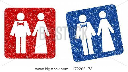 Just Married Persons grunge textured icon. Rounded square with symbol shape hole. Flat style with scratched texture. Blue and red variants. Corroded vector stamp with grainy design.