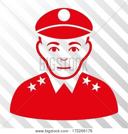 Red Army General toolbar pictogram. Vector pictogram style is a flat symbol on diagonally hatched transparent background.