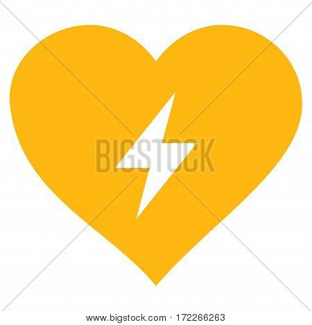 Heart Power flat icon. Vector yellow symbol. Pictograph is isolated on a white background. Trendy flat style illustration for web site design logo ads apps user interface.
