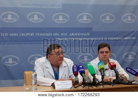 ST. PETERSBURG, RUSSIA - JANUARY 30, 2017: Director of Dzhanelidze Research Institute of Emergency Medicine prof. Valery Parfenov during press conference dedicated to 85th anniversary of the institute