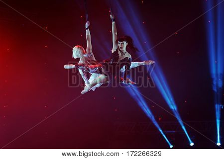 ST. PETERSBURG, RUSSIA - FEBRUARY 3, 2017: Dress rehearsal of the circus program CircUS 2.0. The program created in the Great Moscow Circus and reflects the vision of circus art of XXI century