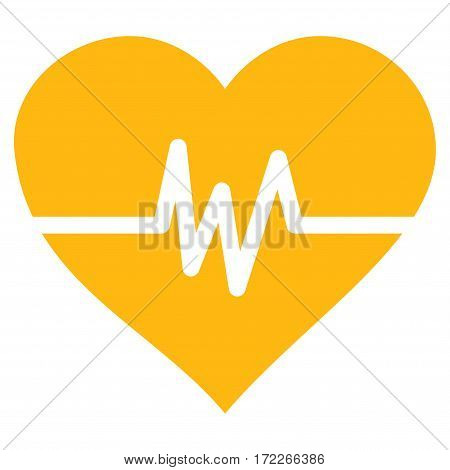 Heart Pulse flat icon. Vector yellow symbol. Pictograph is isolated on a white background. Trendy flat style illustration for web site design logo ads apps user interface.