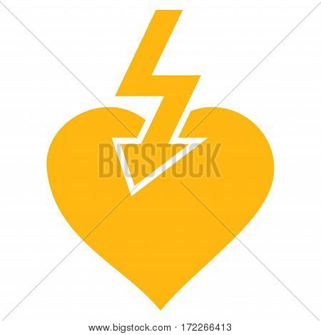 Heart Shock Strike flat icon. Vector yellow symbol. Pictogram is isolated on a white background. Trendy flat style illustration for web site design logo ads apps user interface.