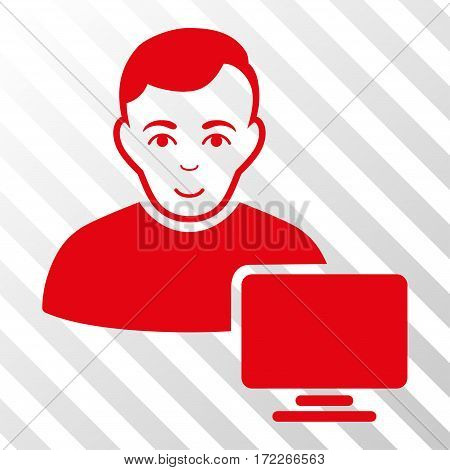 Red Computer Administrator interface pictogram. Vector pictogram style is a flat symbol on diagonally hatched transparent background.