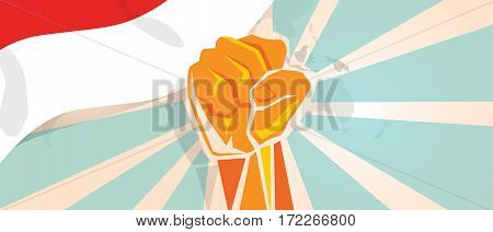 Indonesian fight and protest independence struggle rebellion show symbolic strength with hand fist illustration and flag vector