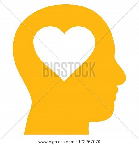 Love In Head flat icon. Vector yellow symbol. Pictogram is isolated on a white background. Trendy flat style illustration for web site design logo ads apps user interface.