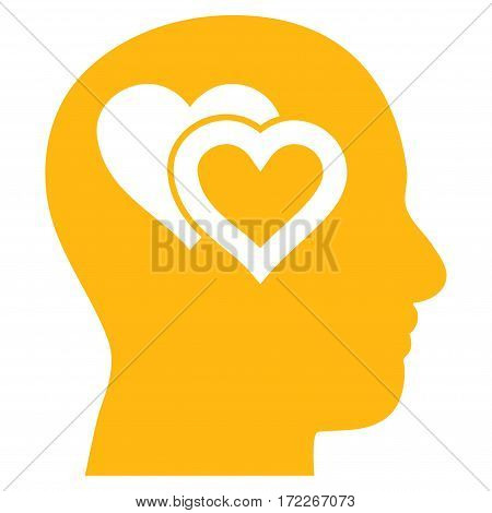 Love In Mind flat icon. Vector yellow symbol. Pictograph is isolated on a white background. Trendy flat style illustration for web site design logo ads apps user interface.