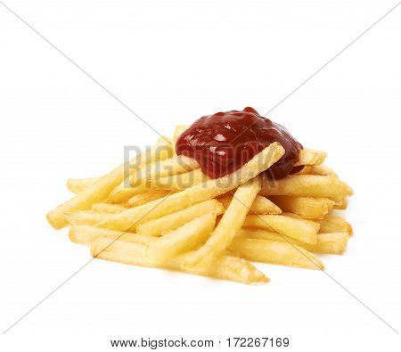 Pile of a potato french fries with some ketchup sauce poured over it, composition isolated over the white background