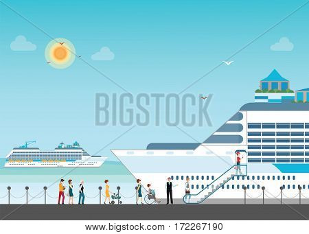 Cruise ship anchored at sea port with cruise peopl in line Ocean traveling visual flat design vector illustration.