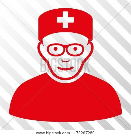 Red Medical Specialist toolbar icon. Vector pictogram style is a flat symbol on diagonally hatched transparent background.